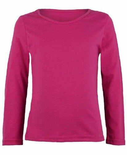 Girls Kids Children School Crew Neck Plain Long Sleeve Top T-Shirt
