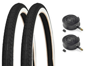 Pair-of-26-034-x-2-125-Mountain-Bike-Beach-Cruiser-White-Wall-Tyres-amp-Inner-Tubes