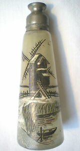 Flacon-atomiseur-verre-emaille-Legras-signe-JEM-Paysage-lacustre-Moulin-Barque