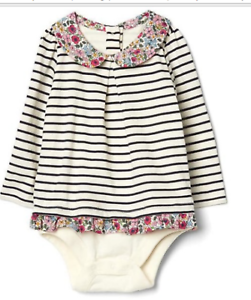 c8978b419 NWT BABY GAP GIRLS IVORY FROST STRIPE FLORAL COLLAR BODY-DOUBLE ...