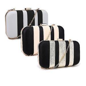 Wedding-Prom-Party-Metallic-Gold-Stripe-Stripey-Panel-Clutch-Evening-Bag-Handbag