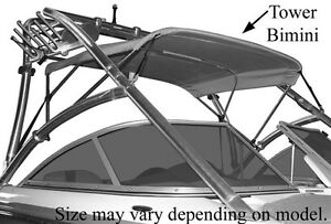 Details about SUPRA SUNSPORT 2003 CUSTOM BIMINI TOP W/ EMB BOOT FOR BOAT W/  TOWER, SIGNAL BLUE