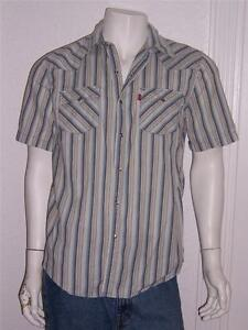 45b48f9d91 Details about LEVI S RED TAB BLUE STRIPE WESTERN SNAP BUTTON SHORT SLEEVE  SHIRT LARGE BOYS