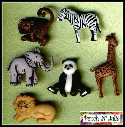 WILD THING  Zoo Safari Panda Giraffe Zebra Monkey Lion Dress It Up Craft Buttons