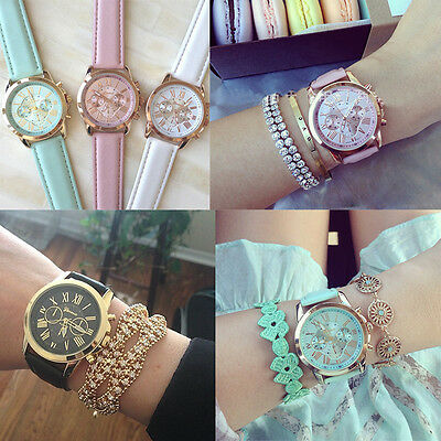 New Geneva Women Girl Roman Numerals Leather Band Analog Quartz Wrist Watch