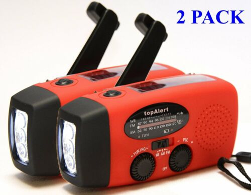 Solar Powered Flashlight Rechargeable Cell Phone Charger Radio USB MP3-2 Pack