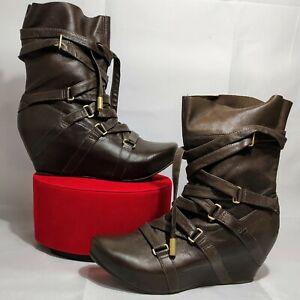 TSUBO SIDON Leather Brown & Gold Steampunk Platform Lace Up LOGO Boots Size 7
