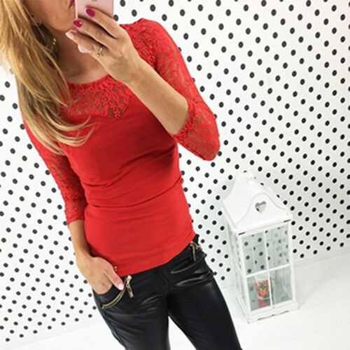 Womens Splicing Long Sleeve Lace Blouse Tops Casual Cotton T Shirt Slim Pullover