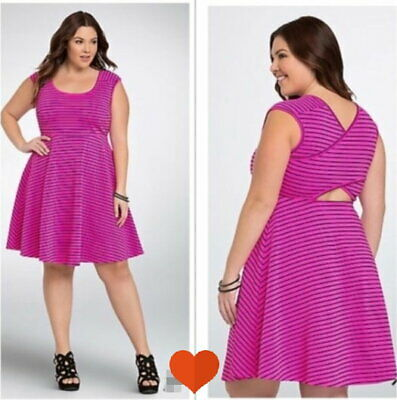 Torrid Hot Pink Stretchy Skater Dress Criss Cross Back Plus Size 6 (30) EUC  | eBay