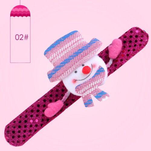 Sequin LED Light Glow Christmas Toy Xmas Snowman Slap Circle Bracelet Wrist Band
