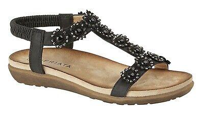 women wedge sandals jewelled elasticated halter back underfoot comfort insole
