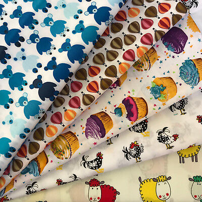 POLY COTTON FABRIC FAT QUARTERS /& SQUARES NEW FUN KIDS DESIGNS SEWING CRAFT
