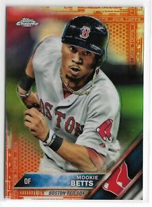 2016 Topps Chrome Baseball MOOKIE BETTS #161 ORANGE PARALLEL 2/25 BOSTON RED SOX