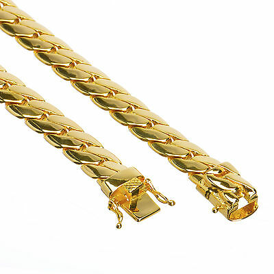 Men S 14k Gold Plated Cuban Link Chain Necklace Box Clasp