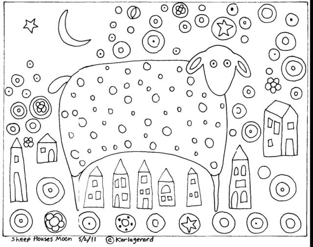 Rug Hook Craft Paper Pattern SHEEP HOUSES MOON Folk Art PRIMITIVE Karla Gerard