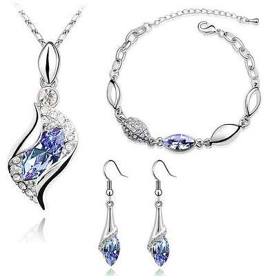 Amethyst Crystal 18k Gp Bracelet Drop Earrings Pendant Necklace Jewelry Set P25 Jewelry Sets Jewelry & Watches