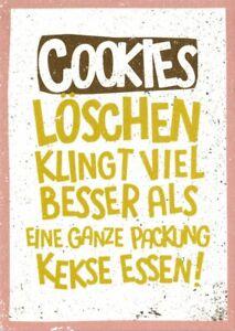 5a9d0faeb08d71 Das Bild wird geladen Postkarte-Sprueche-amp-Humor -034-Cookies-loeschen-klingt-