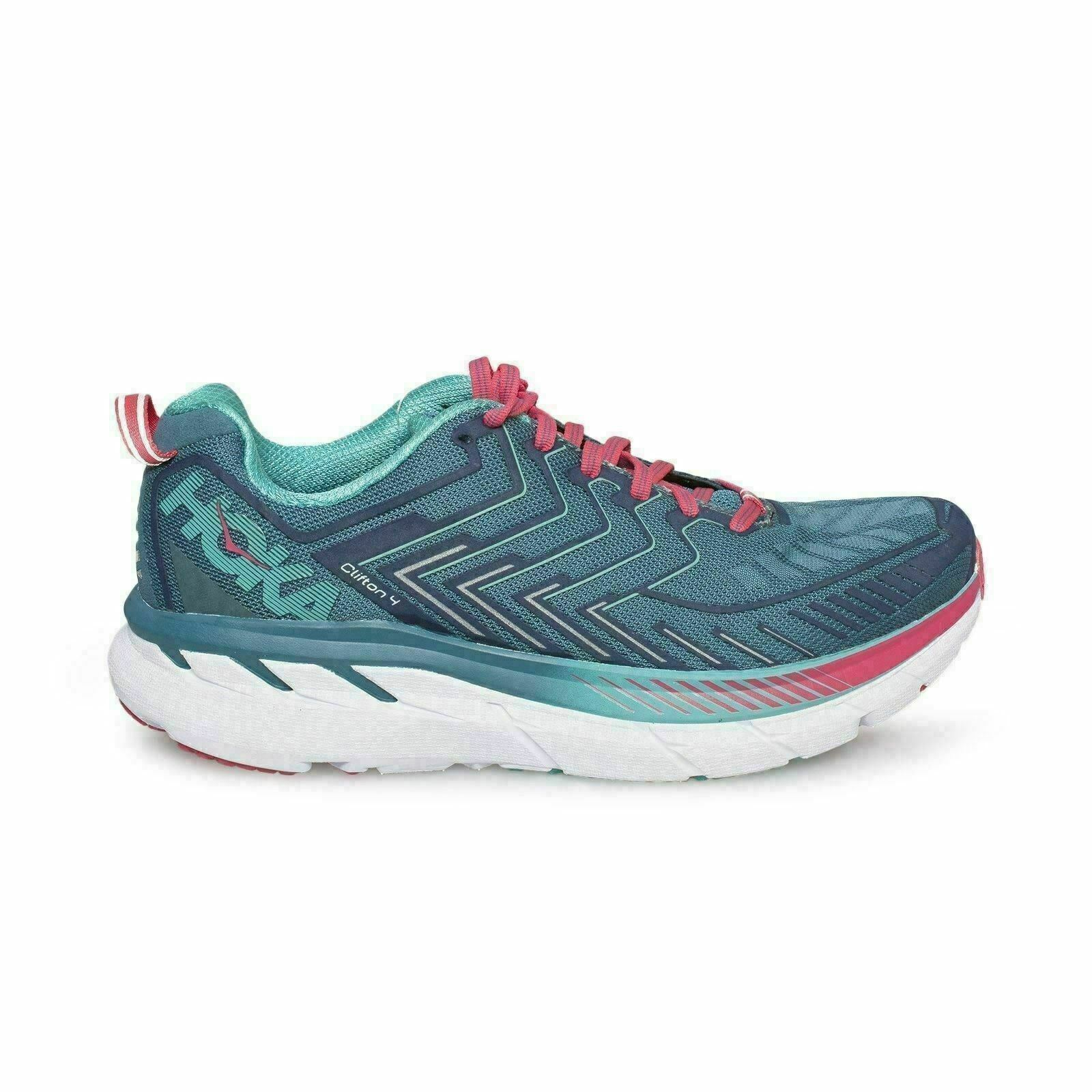 Hoka One One CLIFTON 4 Ancho Azul Coral Cerámica running mujer zapatos de EE. UU.