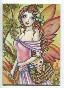 ACEO S/N L/E AUTUMN SEASON PRETTY FAIRY GIRL KITTEN CAT FOLIAGE LEAVE RARE PRINT