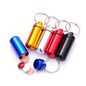 Pill-Medicine-Box-Case-Holder-Container-Capsule-Key-Ring-Chain-Waterproof-7Color
