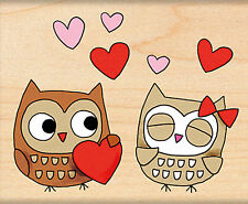 Valentines Day Owl Always Love Wood Mounted Rubber Stamp Penny Black