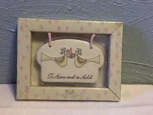 873d279492 Image is loading White-Lace-amp-Promises-Porcelain-wedding-Message-Plaque-