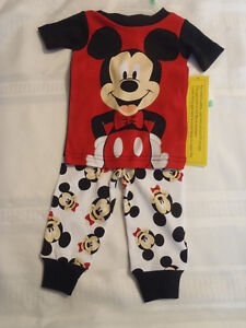 Mickey Mouse Baby Boy Pajamas Cotton Disney Snug Fit Red O Boy 12 18 24 NWT