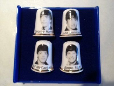 Set of Four Thimbles Four Seasons of The Year Gold Top Birchcroft Porcelain China Collectable