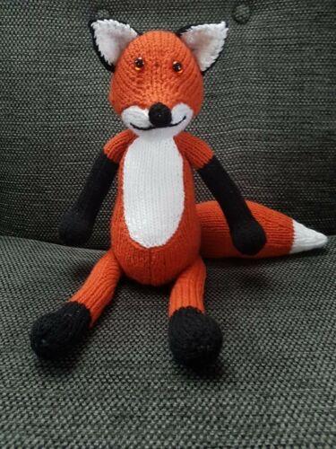 hand knitted freddie fox soft toy