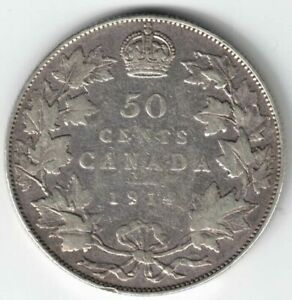 CANADA-1914-50-CENTS-HALF-DOLLAR-KING-GEORGE-V-CANADIAN-STERLING-SILVER-COIN