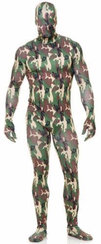 Camouflage Bodysuit Skin Suit Camo Military Fancy Dress Halloween Adult Costume