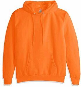 Hanes-Men-039-s-Pullover-EcoSmart-Fleece-Hoodie-Black-Safety-Orange-Size-5-0-WOt