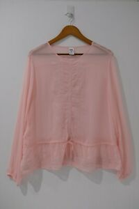 Now-Womens-Pink-Lace-Embroidery-Blouse-Size-16-Long-Sleeve-Crew-Neck-Tie-Waist