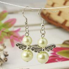 Cute Angel Wing Glass Bead Dangle Earrings