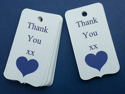 10 White & Cadbury purple Thank You favour tags Wedding Gift Labels Party hearts
