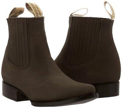 Mens Brown Nubuck Leather Western Cowboy Ankle Dress Boots Vaquero J Toe
