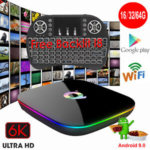 Details about Q-PLUS Android 9 0 Pie 16/32/64G 6K Smart TV Box WIFI 3D  Media+Keyboard Touchpad