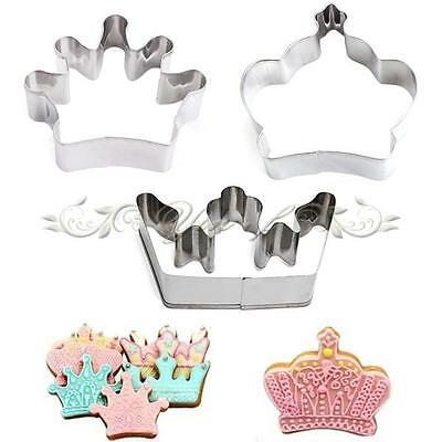 3pcs Set Kitchen Craft Biscuit Cookie Cutter Crown Mold Pastry Cake Baking Mould