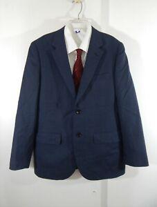 navy-blue-INDOCHINO-jacket-blazer-sport-coat-100-wool-2-button-business-40-40R
