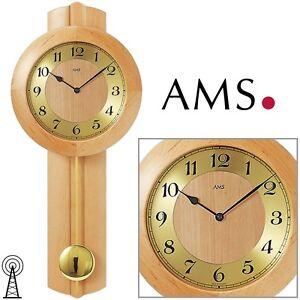 AMS-Horloge-murale-5165-16-Horloge-a-pendule-Radio-pilote-Bois-massif-Erle