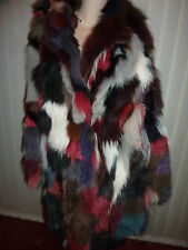 """Ladies cuddly soft real multi-colour Fox fur coat bust 42"""" size 14 length 33"""""""