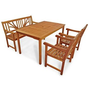 Gartenmöbel set holz mit bank  Gartenmöbel Set 4-tlg aus Holz, 2 Stühle + 1 Bank + 1 Tisch ...