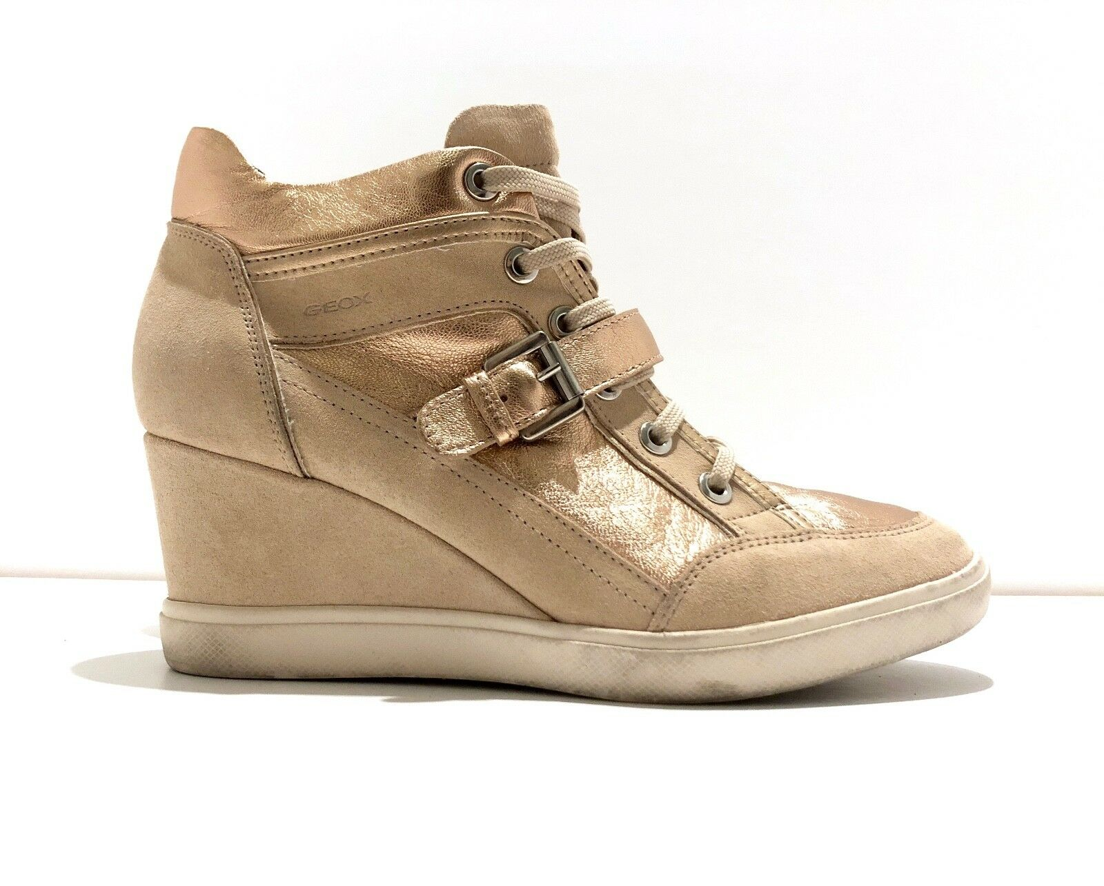 GEOX Eleni Wedge Heeled Sneaker Trainers Leather pink gold Beige Nude Size 8 38