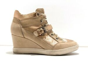 información para 0dd12 8ea4e Details about GEOX Eleni Wedge Heeled Sneaker Trainers Leather Rose Gold  Beige Nude Size 8/38