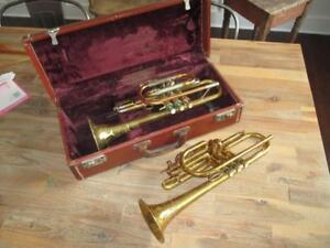Vintage-Cornet-Lot-Chris-Kratt-Tri-Color-Copper-W-Case-Yale-Professional