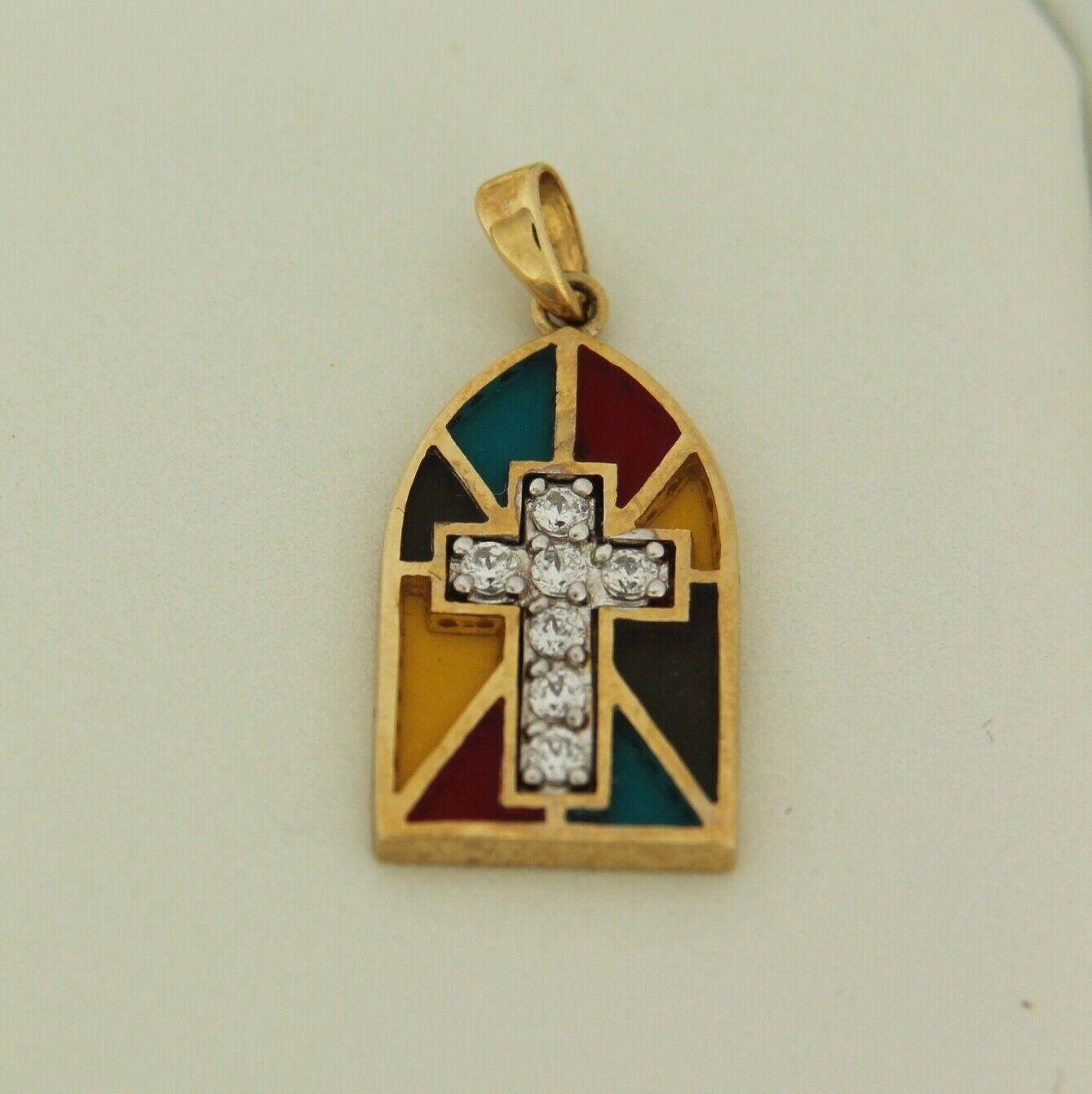 Religioso Croce Cz Vetro Vetro Vetro Colorato 14k oro Giallo Ciondolo c65b20