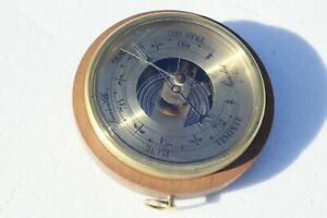 Vintage-French-Barometer-In-Metal-Brass-Wood-In-Working-Condition-5-7inch-0-9lbs