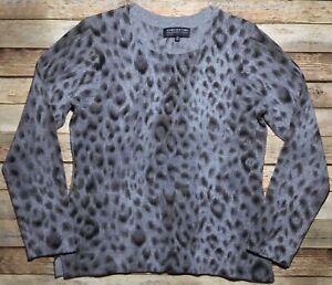 Details about JONES NEW YORK Collection Cashmere Petite Women's PM Gray Leopard Print Sweater
