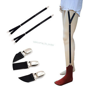 Mens-Y-Style-Shirt-Braces-Stay-Suspenders-Adjustable-Non-Slip-Locking-Clamps