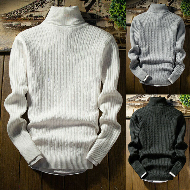 Turtleneck Shirts Knit Pullover Tops High Neck Men's Sweater Winter Slim Jumper